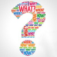 who what where and when words in the shape of a question mark