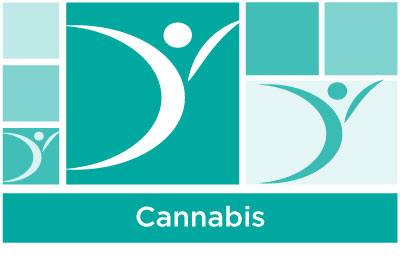 stylish aqua abstract of squares and ASYR icon symbol with the word cannabis