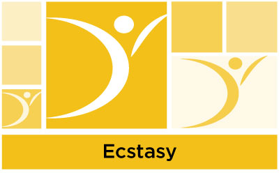 stylish yellow abstract of squares and ASYR icon symbol with the word ecstasy