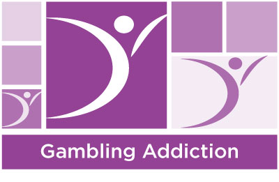 stylish lilac abstract of squares and ASYR icon symbol with the words gambling addiction