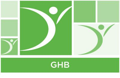 stylish green abstract of squares and ASYR icon symbol and the word GHB