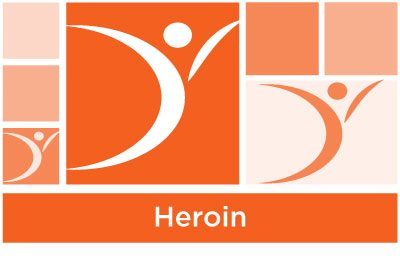 stylish orange abstract of squares and ASYR icon symbol with the word heroin