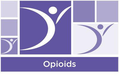 tylish deep purple abstract of squares and ASYR icon symbol with the word opioids