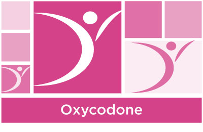 stylish pink abstract of squares and ASYR icon symbol with the word oxycodone