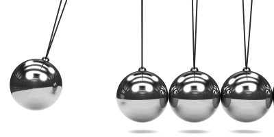 3d render of a Newtons Cradle in motion