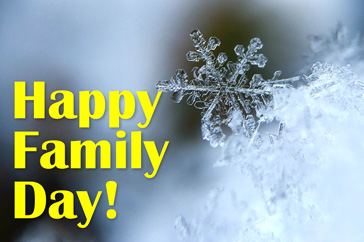 crystal snowflake with the words Happy Family Day