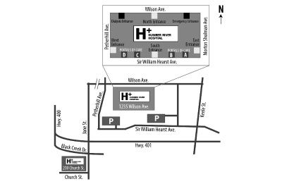 overivew map of Humber River Hospital buildings