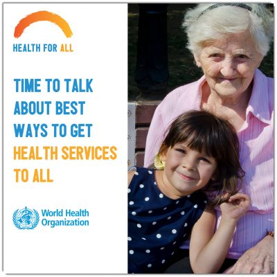world health day image of elderly woman and young child