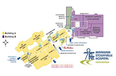 overivew map of Markham-Stouffville Hospital buildings