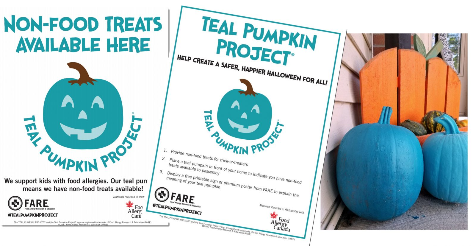 teal pumpkin project posters and 2 teal pumpkins on front porch