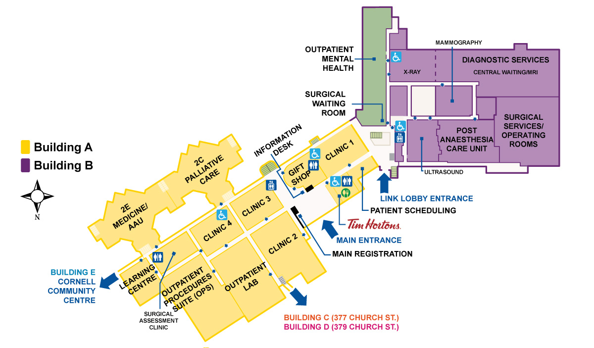 markham stouffville hospital site map