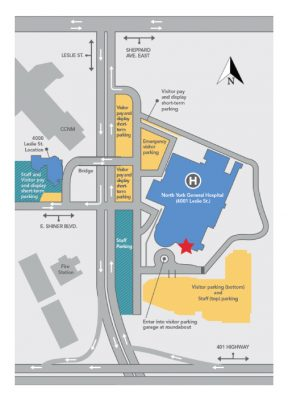 visual map of North York General Hospital grounds and buildings