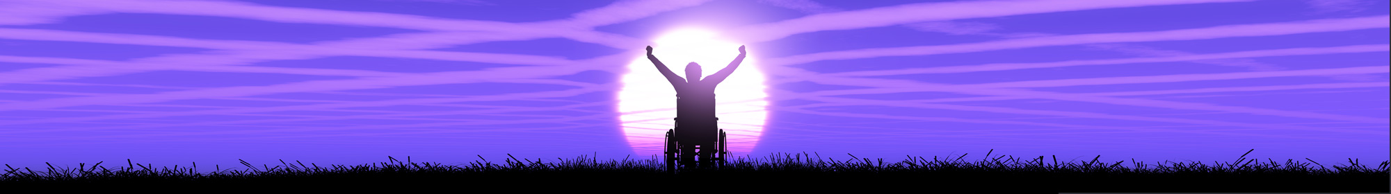 silhouette of a man in a wheelchair with arms raised against a vibrant purple sunset