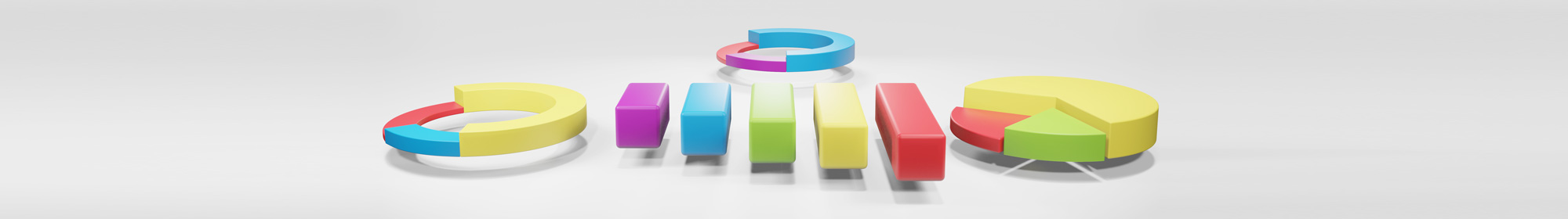 3d blocks of bar and pie charts used for annual reporting