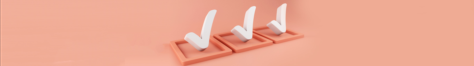 3d checkmarks in 3 boxes on soft peach background