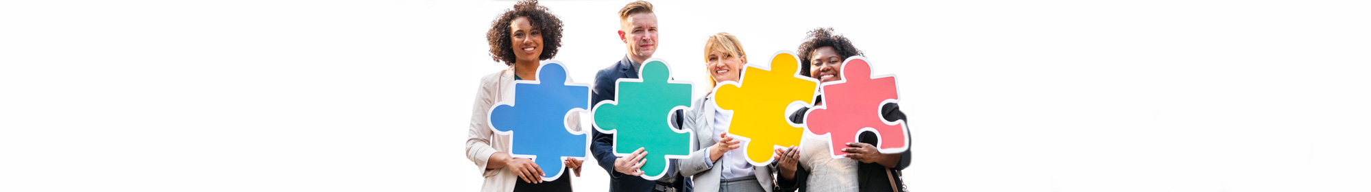 diverse partners connected with puzzle pieces