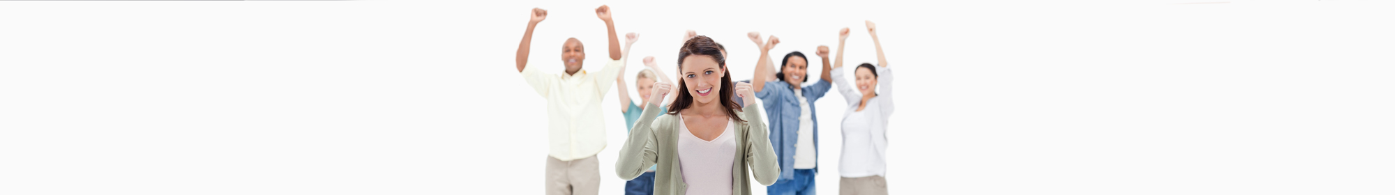 group of happy diverse counsellors with fists raised in the air
