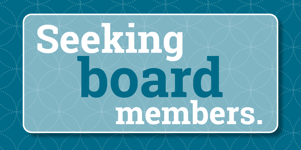 decorative element with the words seeking board members